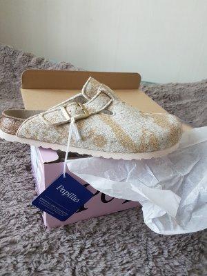 Birkenstock Sandalo con tacco oro-crema