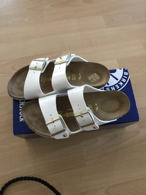Birkenstock Sandales confort blanc-doré cuir