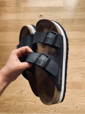 Birkenstock Plateauzool sandalen wit-zwart Leer