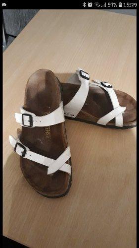 Birkenstock Sandalen met bandjes wit-bruin