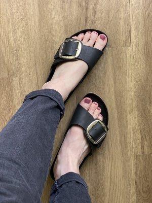Birkenstock Wygodne sandały czarny-srebrny Skóra