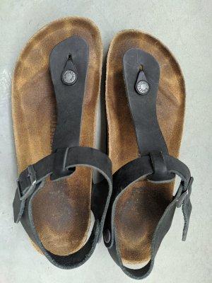 Birkenstock Toe-Post sandals black-dark blue leather