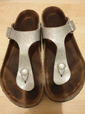 Birkenstock High-Heeled Toe-Post Sandals silver-colored