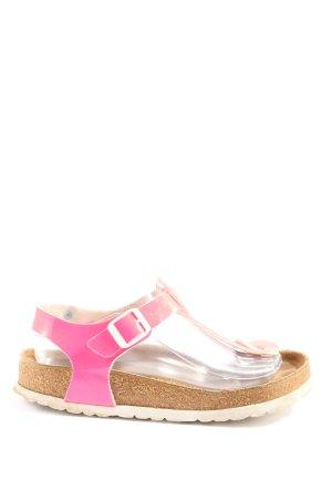 Birkenstock Sandały na obcasie z paskiem w kształcie litery T różowy-biały
