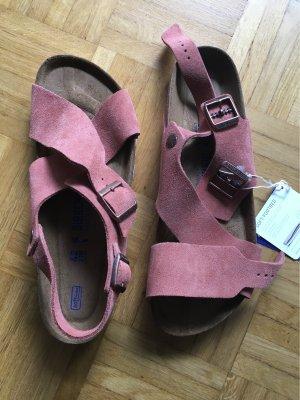 Birkenstock Comfortabele sandalen roodbruin Leer