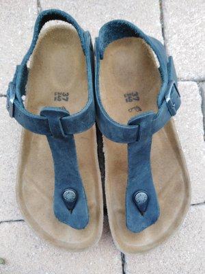 Birkenstock Sandalo toe-post nero-marrone chiaro Pelle