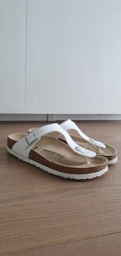 Birkenstock Sandalo toe-post bianco Pelle