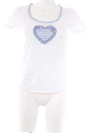 Birkhahn T-shirt blanc-bleuet style décontracté