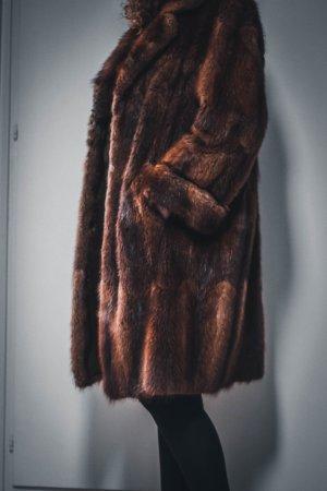 Vintage Futrzany płaszcz brązowy