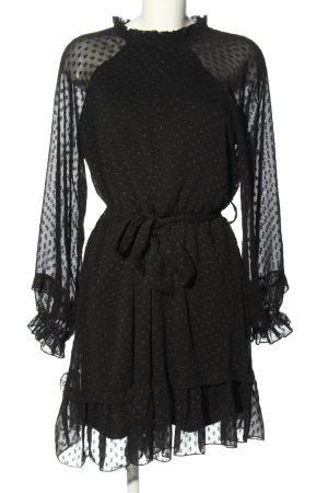 Bisou's Project Blusenkleid schwarz-hellgrau Punktemuster Elegant