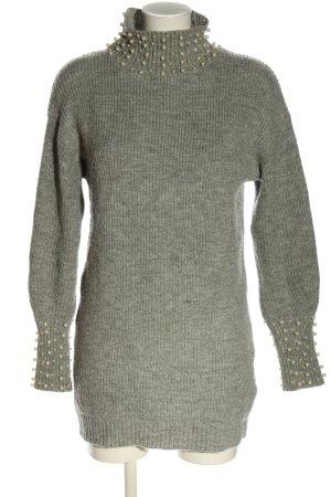 Bisou's Project Maglione lungo grigio chiaro puntinato stile casual