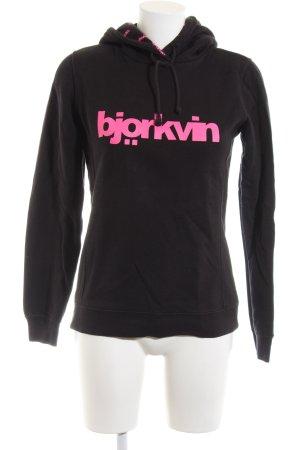 Björkvin Bluza z kapturem czarny-różowy Wydrukowane logo W stylu casual