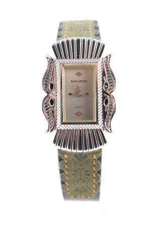 Horloge met lederen riempje khaki elegant