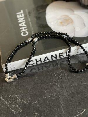 Srebrny łańcuch czarny-srebrny