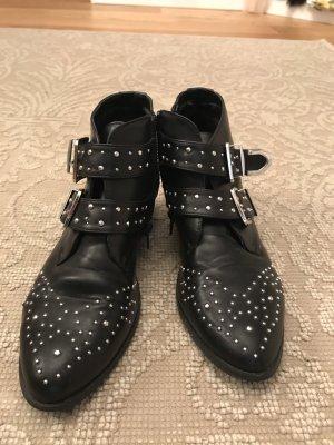 Black boots chloè-style silver