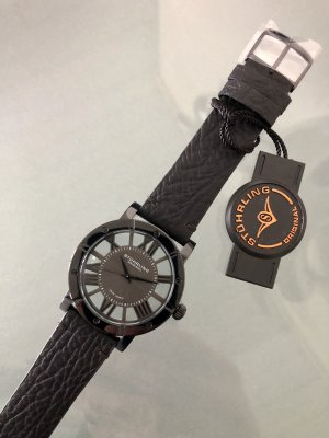 stührling Watch With Leather Strap black