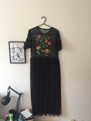 Black flower transparent dress