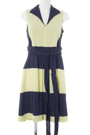 Black Label Robe fourreau bleu foncé-jaune fluo motif rayé style décontracté