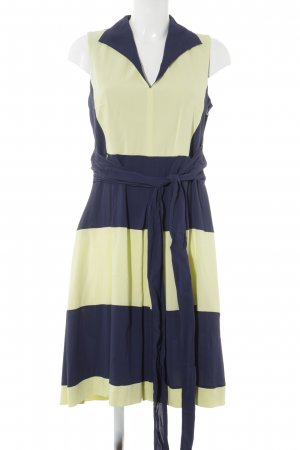 Black Label Sheath Dress dark blue-neon yellow striped pattern casual look