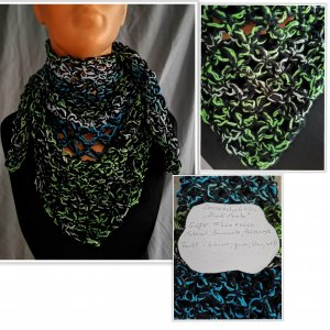 Crochet Scarf dark green
