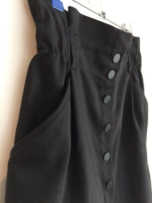 Black mini Skirt with Elastic Band and decorative Buttons