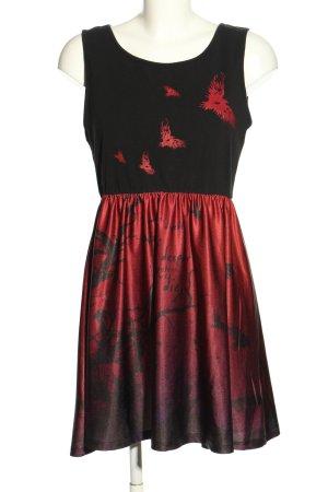 Black Premium by EMP Sukienka mini czarny-czerwony Nadruk z motywem