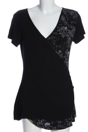 Black Premium by EMP V-hals shirt zwart-lichtgrijs bloemenprint