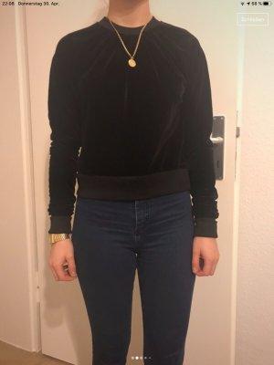 Black Samt Crop-Pullover