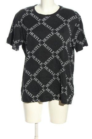 Black Squad T-shirt czarny-biały Na całej powierzchni W stylu casual