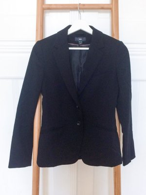 Black suit with pinstriped vest.