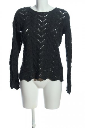 Black Swan Pullover all'uncinetto nero punto treccia stile casual