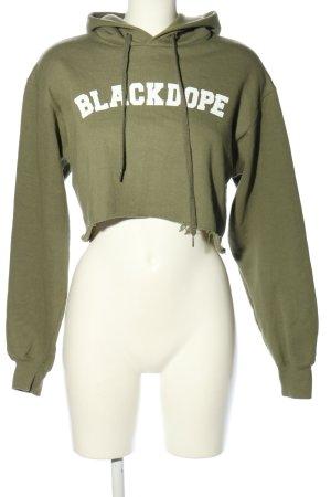 Blackdope Kapuzenpullover khaki-weiß Schriftzug gedruckt Casual-Look