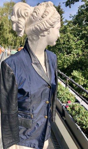 Blacky Dress Blazer en cuir noir-bleu foncé