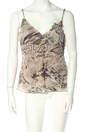 Blacky Dress Top in seta marrone-bianco sporco motivo animale stile casual