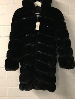 Manteau en fausse fourrure noir