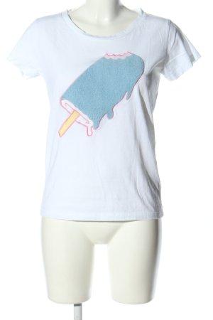 Blake Seven T-Shirt weiß-blau Motivdruck Casual-Look