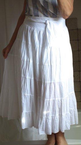 Spódnica z falbanami biały Bawełna