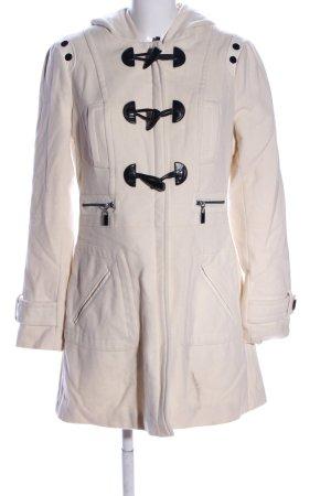 BLANC NOIR Manteau à capuche blanc cassé style décontracté
