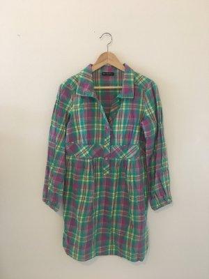 Blanche fleur Night Hemd Bluse Kleid 36 weit gerade Tunika grün gelb pink Karo kariert weit Hemdkragen zierknöpfe