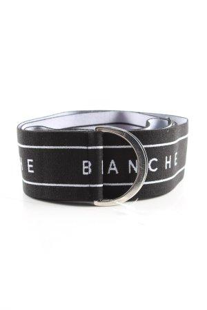 Blanche Cinturón de tela negro-blanco letras impresas look casual