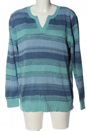 Blancheporte V-Neck Sweater turquoise-blue striped pattern casual look
