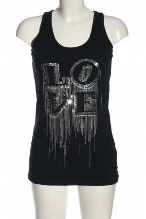 Blanco T-Shirt black-silver-colored printed lettering glittery