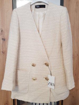 Zara Knitted Blazer natural white