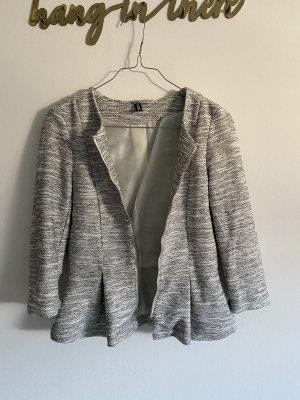H&M Divided Blazer in maglia grigio chiaro-bianco