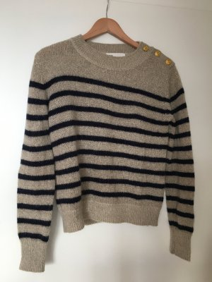 Blau-Beige gestreifter Pullover