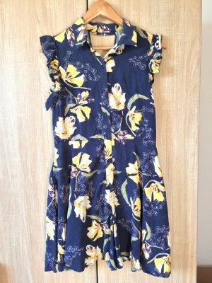 Blau Blumen Jumpsuit, Kleid Hose von Zara, Gr. L