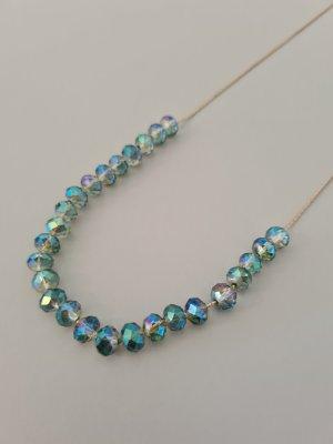 blau changierende Perlenkette vintage
