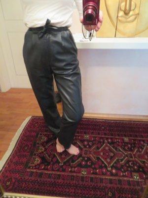 Blau Designer High Waist Lederhose - Größe S - Bundfalten Karotte Taillengurt Taschen Softleder Vintage