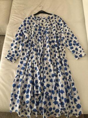 Blau gemusterte Sommerkleid Leichte Luftige Baumwolle
