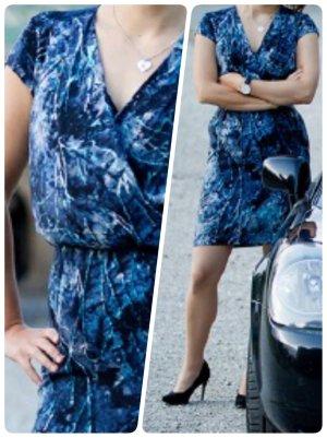 Blau gemustertes Satin-Kleid Mexx Metropolitain Gr. 34